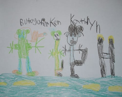 Kathryn's son's depiction of the finish line. I hope she's framed the Butographer; that's worthy of some wall real estate.