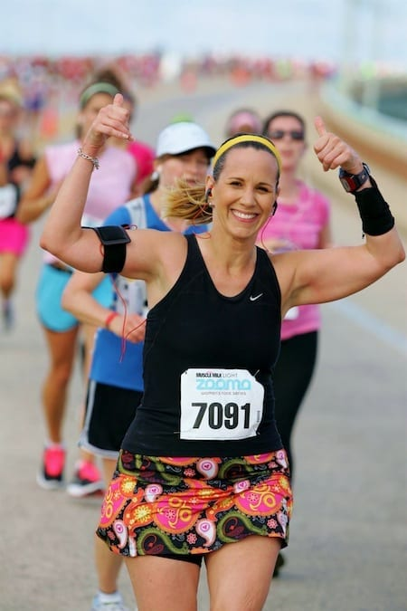 woman running half-marathon