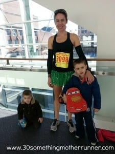 A pre-race photo, Jessica and her boys.