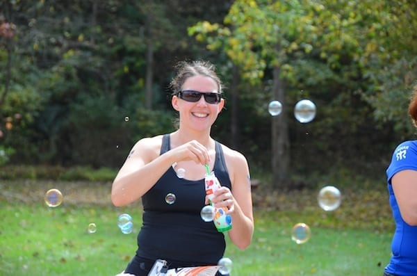 Angela found plenty of time at Ragnar to blow bubbles—and tag other vans.